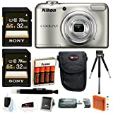 Nikon Coolpix A10 Digital Camera with 64GB Kit and Batteries Bundle