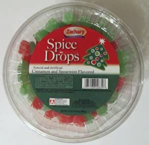 Zachary Christmas Holiday Spice Drops - Red & Green Gum Drops - Cinnamon & Spearmint Flavored