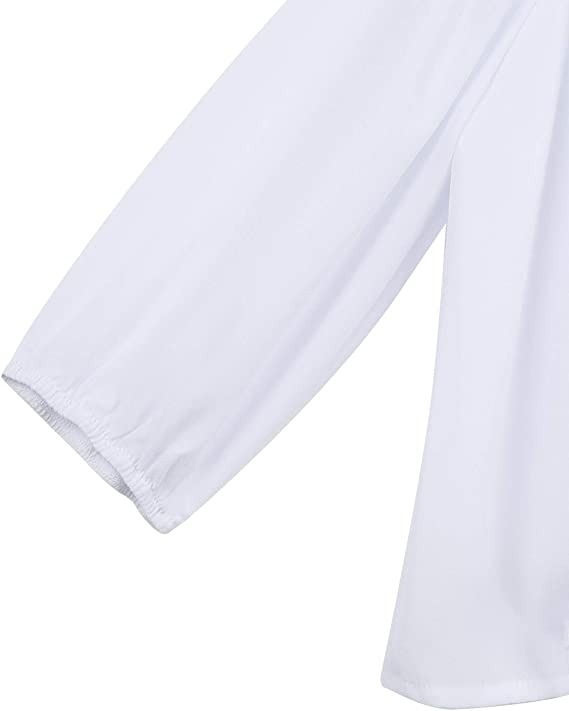 Alvivi Blusa Blanca Niña Manga Corta de Gasa Camisa Otoño Manga Larga de 3/4 Tops Elegante con Corbata en Lazo Elegante: Amazon.es: Ropa y accesorios