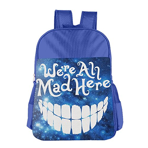 Bad Mad Hatter Costume (JXMD Custom Evil Teeth We're All Mad Here White Teenager Schoolbag For 4-15 Years Old RoyalBlue)