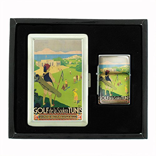 Perfection In Style Cigarette Case and Oil Lighter Gift Set Vintage Golf Design 012 by Perfection In Style