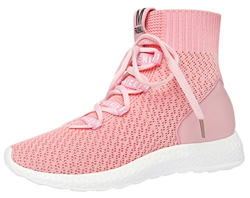Women Casual Lace Up Sneaker Elastic Ankle Breathable Lightweight Running Shoes(4 UK, Pink)