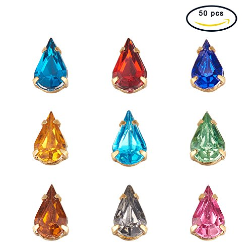 Pandahall 50pcs Assorted Color TearDrop Shape Sew on / Glue on Acrylic Rhinestone Montee Beads with Brass Findings, Golden Metal Color, 10x6x5mm by Garment Accessories