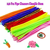 Pipe Cleaners, 240 PCS Arts and Crafts Pipe Cleaners Chenille , 6mm X 12 Inch, 12 Colors by Outee