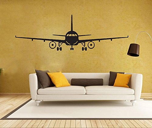 BIBITIME Military Army Cargo Airplane Silhouette Sticker Decal Flying Pilots Home Decor (XL: 74.41 x 23.23 in, Black)