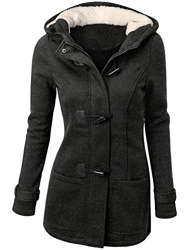 Womens Classic Double Breasted Pea Coat Jacket Charcoal Large