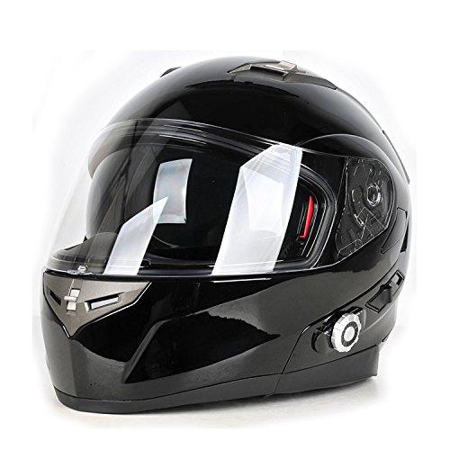 Motorcycle Bluetooth Helmets,FreedConn Flip up Dual Visors Full Face Helmet,Built-in Integrated Intercom Communication System(Range 500M,2-3Riders Pairing,FM radio,Waterproof,L,Gloss Black)