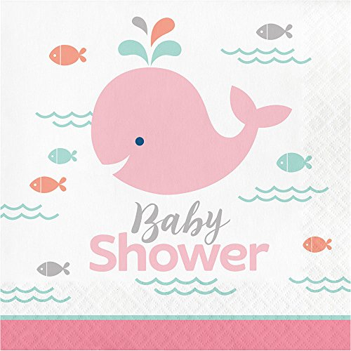 Pink Whale Baby Shower Lunch Napkins (16 ct)