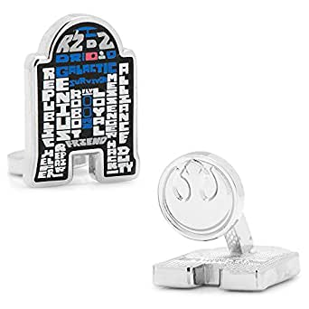 Star Wars Enamel Typography Art Silver Plated Cufflinks (R2D2)