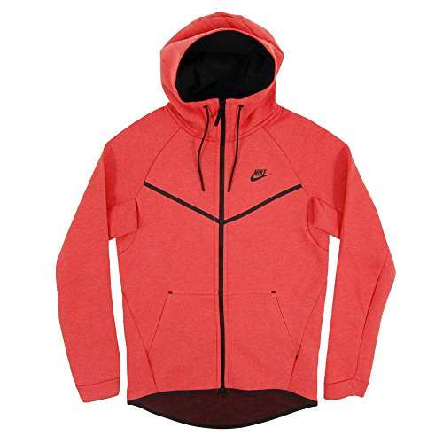 Nike M Nsw Tch Flc Wr Hoodie Fz Sudadera, Hombre rojo (track red/htr/black)
