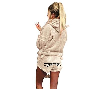 Zarupeng Mujeres Color sólido cálido Invierno Conjunto de Dos Piezas Lindo Gato Pijama Sudadera con Capucha