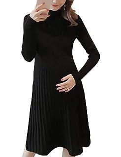 eed6c7e76d7f57 TAAMBAB Mode-Look Strecken Umstandskleid Frau - Lange Ärmel Gerafft  Schwangere Kleidung Basic Pullover Kleid