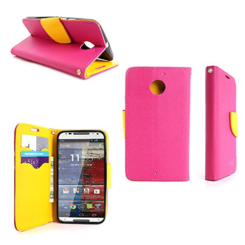 Motorola Moto X (2nd Generation) Wallet Case (Hot Pink / Yellow) CoverOn Credit Card Holder Carrying Pouch Phone Cover for Motorola Moto X XT1097 (2nd Generation, 2014) - Included Bonus; Clear Screen Protector and Wristlet Strap