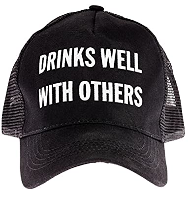 "Snark City's Funny Unisex Trucker Cap Hat Adjustable ""Drinks Well With Others"""