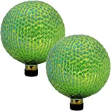 Sunnydaze Green Textured Surface Gazing Globe Ball, 10-Inch, Set of 2