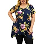 Urban Rose Womens Plus-Size Top, Sharkbite Hem with Necklace