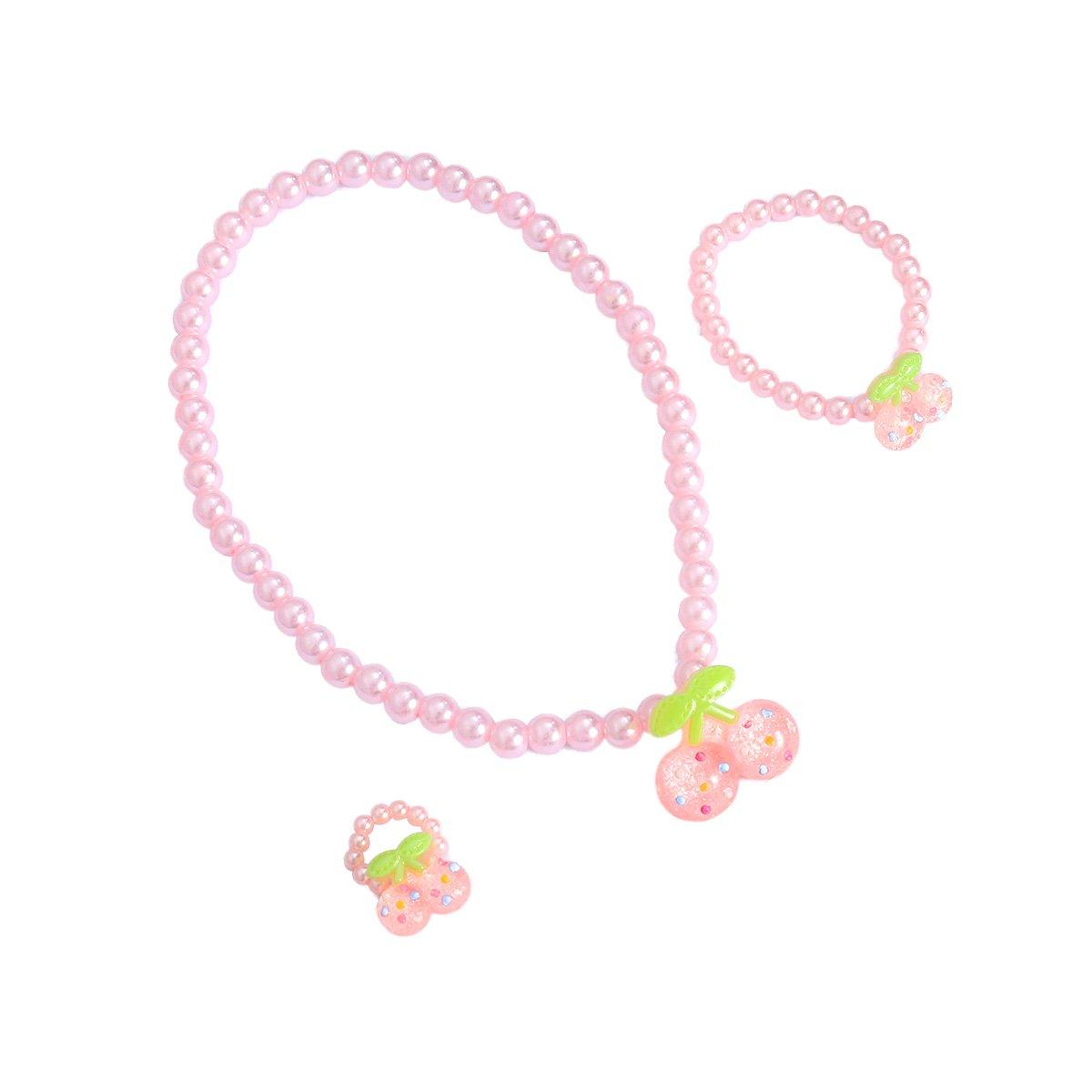 STOBOK 3pcs Kinder Schmuck Set Nachahmung Perlen Kirsche Halskette Ring Armband