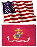 5x8 Embroidered American Flag & 4x6 USMC Marine Corps Flag Made in the U.S.A. Military Grade Nylon