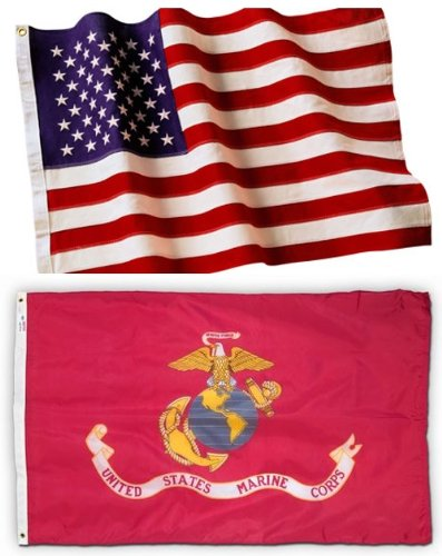 5x8 Embroidered American Flag & 4x6 USMC Marine Corps Flag Made in the U.S.A. Military Grade Nylon by EHT Flags