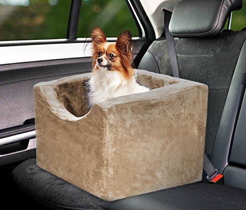 Precious Tails Camel Beige Pet Car Booster Seat High Density Foam with Safety Strap Medium For Sale