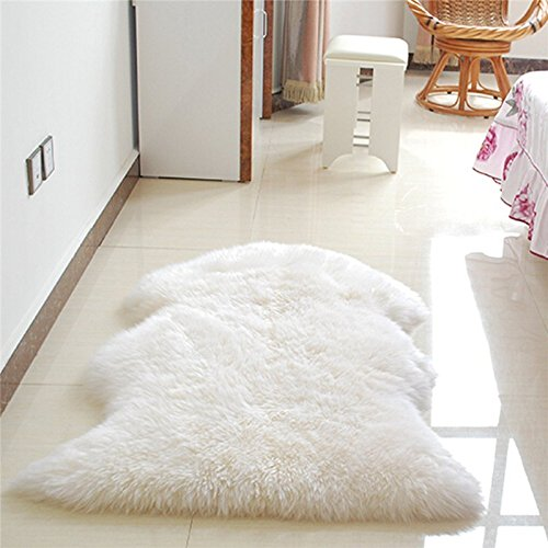 Soft Hairy Carpet Sheepskin Chair Cover Seat Pad Plain Skin Fur Plain Fluffy Area Rugs Washable Bedroom Faux Mat :color white