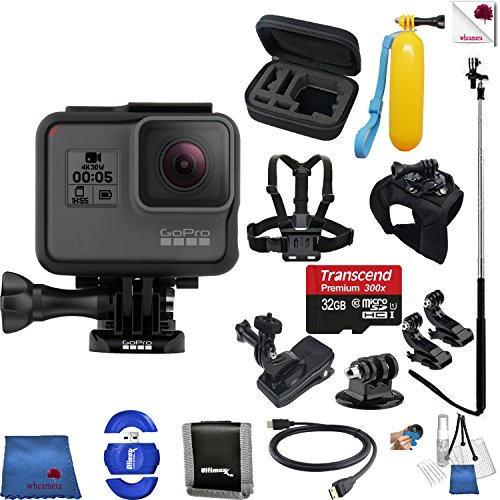 Gopro Hero 5 Black 14 Piece Excursion Bundle Includes: Go Pro Hero5 Black + Case + Floaty Bobber + Chest Strap + Glove Mount + Monopod + More