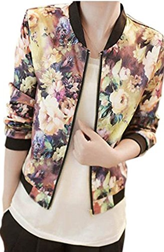 Beautyvan,1PC Women Stand Collar Long Sleeve Zipper Floral Printed Bomber Jacket (M, (Flutter Smocked Dress)