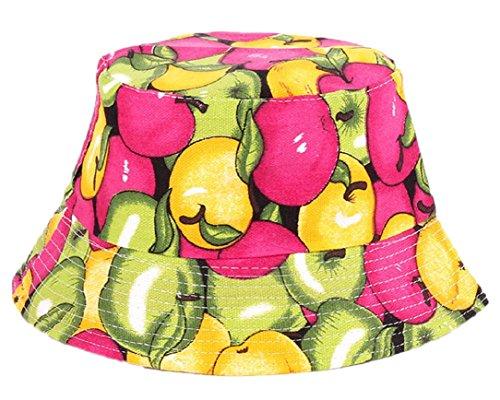 [YABINA Fashionable Unisex Satin Lined Printed Pattern Cotton Bucket Hat-Multi (Fruits Apple)] (Fruit Hat Lady)