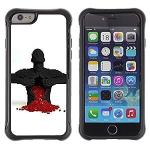 Suave TPU Caso Carcasa de Caucho Funda para Apple Iphone 6 PLUS 5.5 / Puzzle Game Heart Broken Love Red Man Anatomy / STRONG