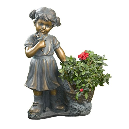 Winsome House Girl Picking Flowers and Plant Holder (Little Girl Planter)