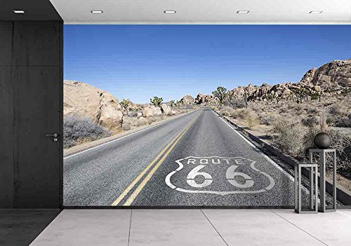 Joshua Tree Highway with Route 66 Pavement Sign in California'S Mojave Desert