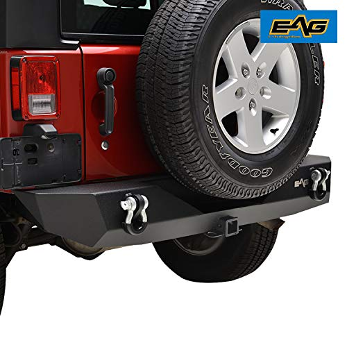 (EAG Rear Bumper with Hitch Receiver for 07-18 Jeep Wrangler JK offroad)
