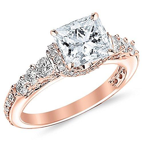 2.35 Ctw 14K Rose Gold Designer Four Prong Pave Set Round Diamonds Engagement Ring w/Princess 1.5 Carat Forever One Moissanite Center - Moissanite Round Prong Pave