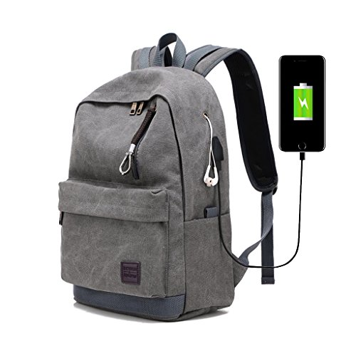 Jarvan Canvas Backpack School Backpack with USB Charging Port,Fits up to 15.6 inch Laptop Backpack Shoulder Bag Travel Bag