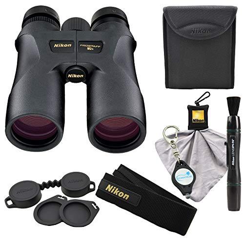 Nikon 16003 10x42 ProStaff 7S Binocular All-Terrain Waterproof and Fogproof (Black) Bundle with Nikon Cleaning Cloth, Lens Pen and Lumintrail Keychain Light