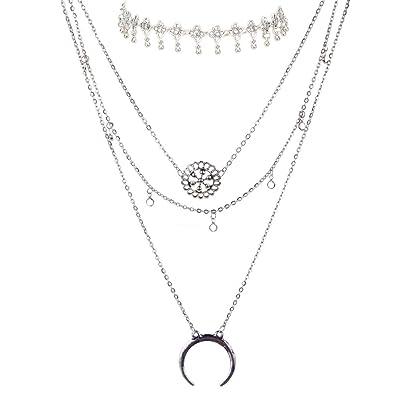 21758cfa08aa YAZILIND Mujeres 2016 Idea Collar de Plata de múltiples Capas del Collar  Largo Pendiente Collares Conjunto Regalo de la joyería  YAZILIND JEWELRY  LTD  ...
