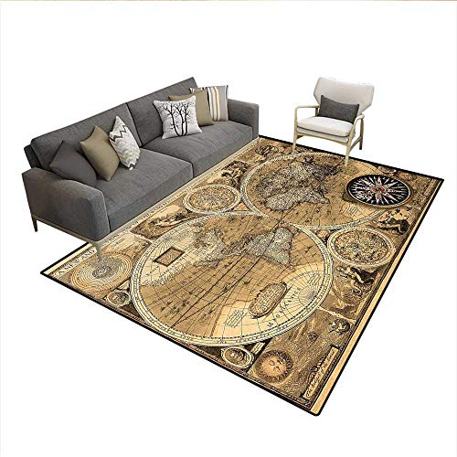 A New and Accvrat Map of World Historical Manuscript,Area Silky Smooth Rugs,Brown Black Pale Brownsize:6'x9' ()