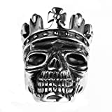 Bishilin Jewelry Men's Rings Stainless Steel Skull with Crown Punk High Polished Ring Silver Size 11