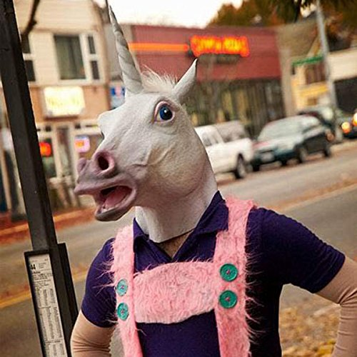 [Halloween Mask White Unicorn Dance Fashion Latex Masks] (Customes Halloween Maternity)