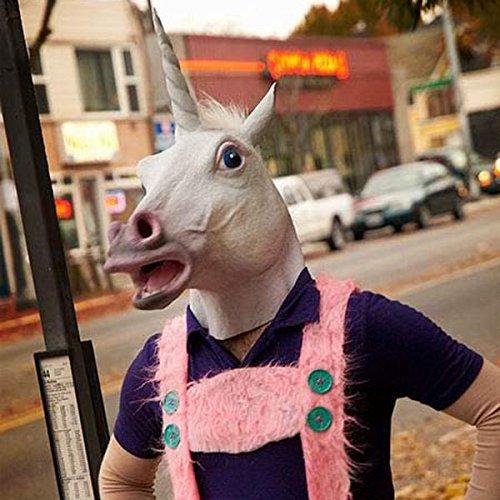 [Halloween Mask White Unicorn Dance Fashion Latex Masks] (Road Sign Halloween Costumes)