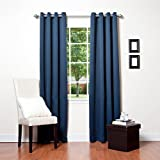 """Best Home Fashion Basic Thermal Insulated Blackout Curtains - Antique Bronze Grommet Top - Navy - 52""""W x 96""""L – (1 Panel)"""