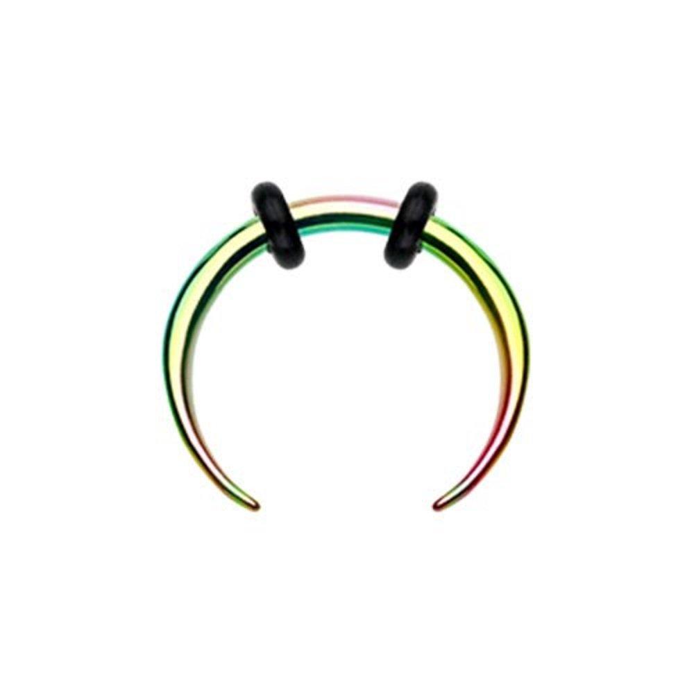 Rainbow Basic Steel Pincher WildKlass Septum Ring by WildKlass Jewelry