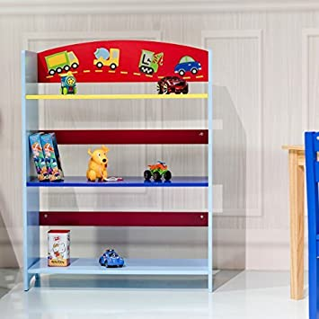 COSTWAY Children Bookcase Kids Toy Storage Shelf Book Rack Multicolor Playroom Bookshelf Organizer 3 Tier