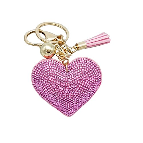 HEART SPEAKER Romantic Dazzling Rhinestone Love Heart Charm Pendant Fringe Keychain Keyring (Pink)