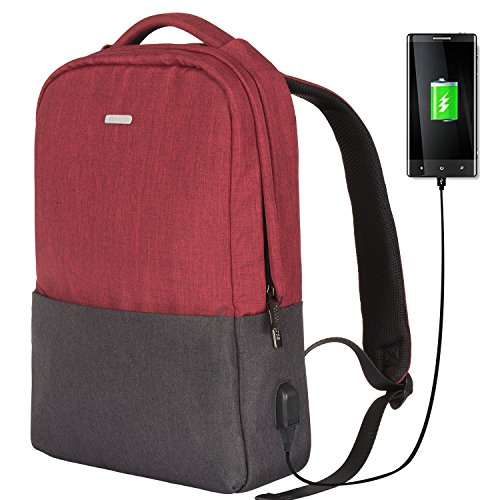 School Backpack OSOCE Slim Laptop Bag with USB Charging Port Durable Casual Daypack Lightweight Fits up to 15 inch Tablet Notebook for Work Travel Business College Red
