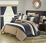 Perfect Home 24 Piece Emilio Complete Bedroom Set with Octagon Embroidery Color Block pattern. decor pillows, window treatments Queen Bed In a Bag Comforter Set Grey With sheet set