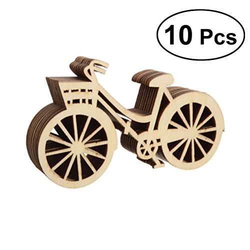 Bicycle Wooden - OULII 10PCS Wooden Bicycle Bike Cutout Veneers Slices Crafts Embellishment For DIY Crafting Ornament Decoration For Wedding Engagement Festival Party