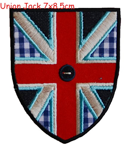 2 Iron On Patches Applique Craft Shark 11x5,5 and Union Jack 7x8.5cm - Decoration DIY for fabric clothing by TrickyBoo Design Zurich -