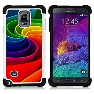 Dragon Case- Dise?¡Ào de doble capa pata de cabra Tuff Impacto Armor h??brido de goma suave de silicona cubierta d FOR Samsung Galaxy Note 4 SM-N910 N910- 3D ART COLORFUL MOTION WHEEL RAINBOW