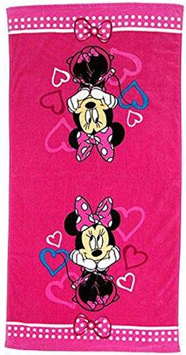 Disney Minnie Mouse Bowtique Fuschia Hearts Cotton Bath Towel, Pink Bath Towel